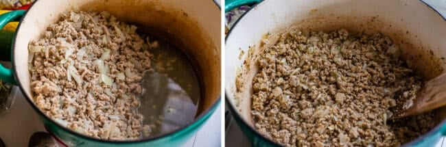 draining fat from turkey, adding spice to ground turkey in a pot