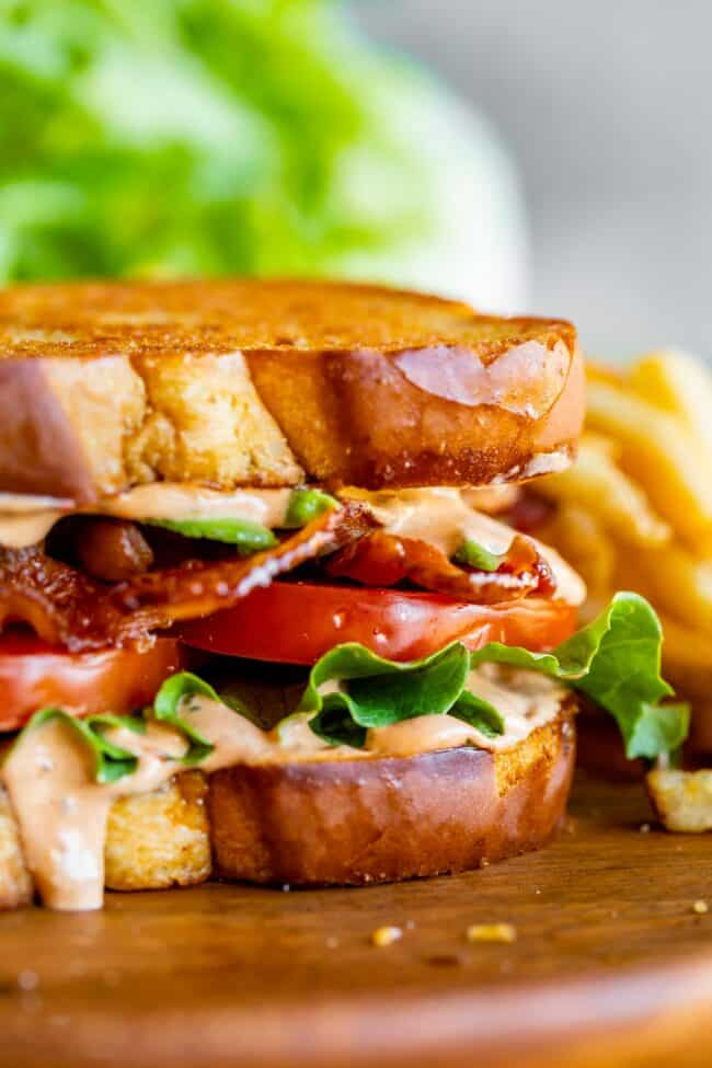 BLT sandwich with chipotle mayo sauce