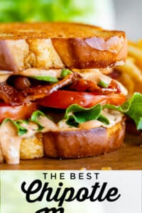 a BLT sandwich with chipotle mayo sauce, lettuce, tomato, and bacon