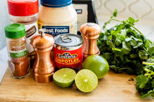 ingredients you need for how to make chipotle mayo: lime, cilantro, salt, pepper