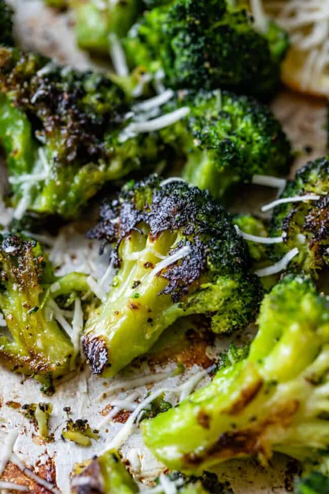 garlic roasted broccoli with parmesan sprinkled on top