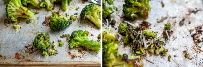 roasted broccoli on a pan, scraping up the browned bits with shredded parmesan