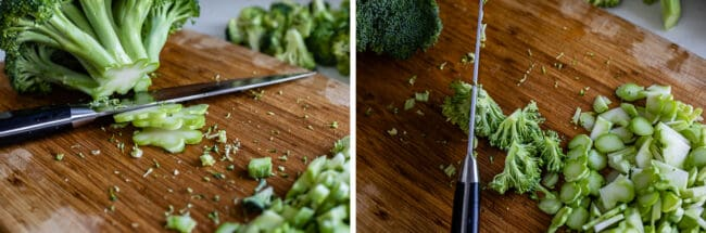 slicing the stem of broccoli on a cutting board, slitting broccoli florets from the stem end