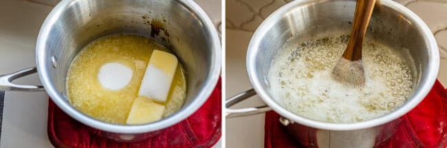 sugar, butter, and lemon juice in a pot, the mixture boiling