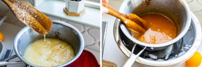 lemon filling in a pot, lemon filling in a pot in an ice bath