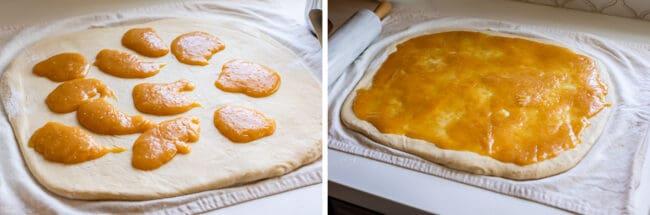 lemon filling spread on dough for sweet rolls