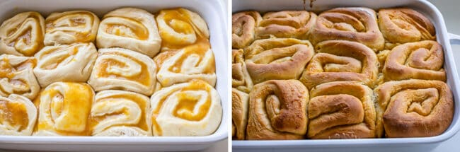 lemon rolls unbaked in a white dish, then baked