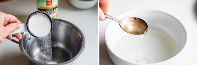 adding sugar to a pot, a spoon lifting simple syrup from a white bowl