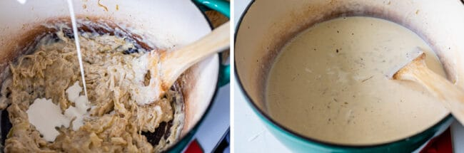 adding cream to a mixture of onions and flour, a creamy sauce