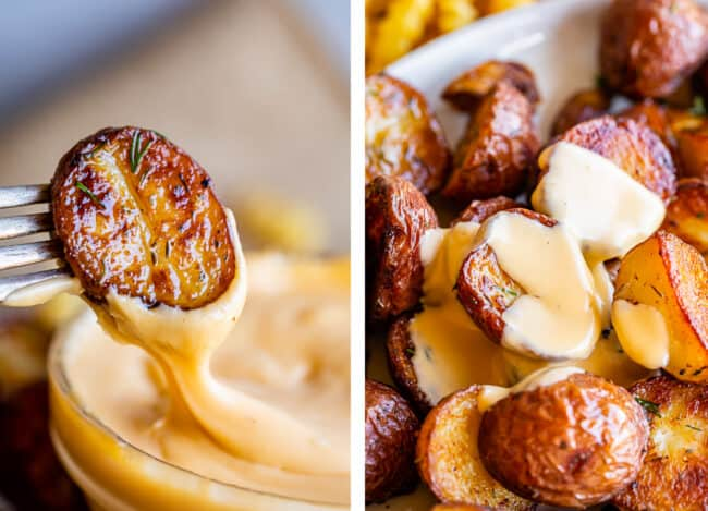 dipping a potato in cheese sauce, potatoes on a plate covered in cheese sauce