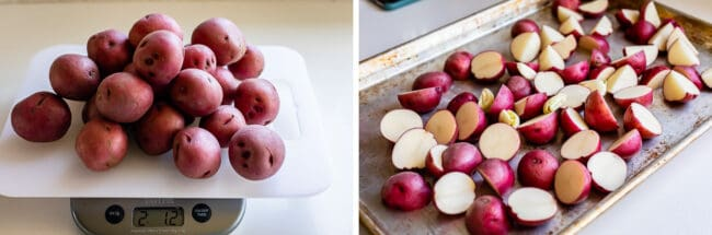 weighing 2 pounds of red potatoes, arranging the potatoes on a pan
