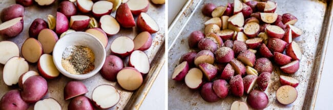 red potatoes on a sheet pan with a bowl of spices
