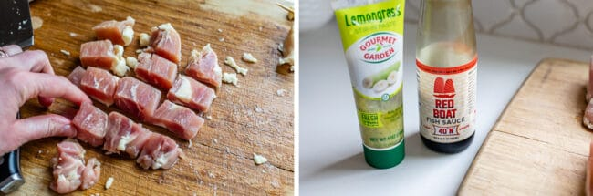 how to chop chicken thighs for skewers, fish sauce and lemongrass on a white counter
