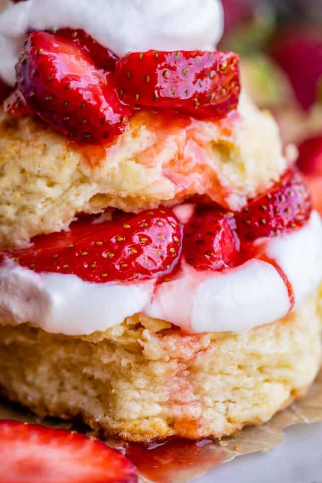 classic strawberry shortcake with biscuits, whipped cream, and berries