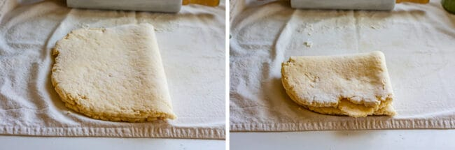 rolled out dough folded in half