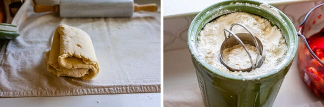 rolled out dough folded in quarters, a canister of flour with a biscuit cutter in it