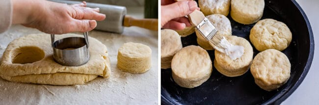 pressing a biscuit cutter into dough, brushing the tops of biscuits with cream