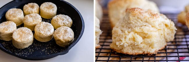 uncooked biscuits in a pan, a baked flaky biscuit on a cooling rack