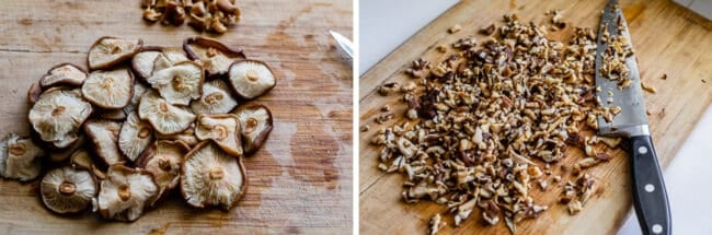 rehydrated shiitake mushrooms stemmed and then chopped with a knife on a cutting board