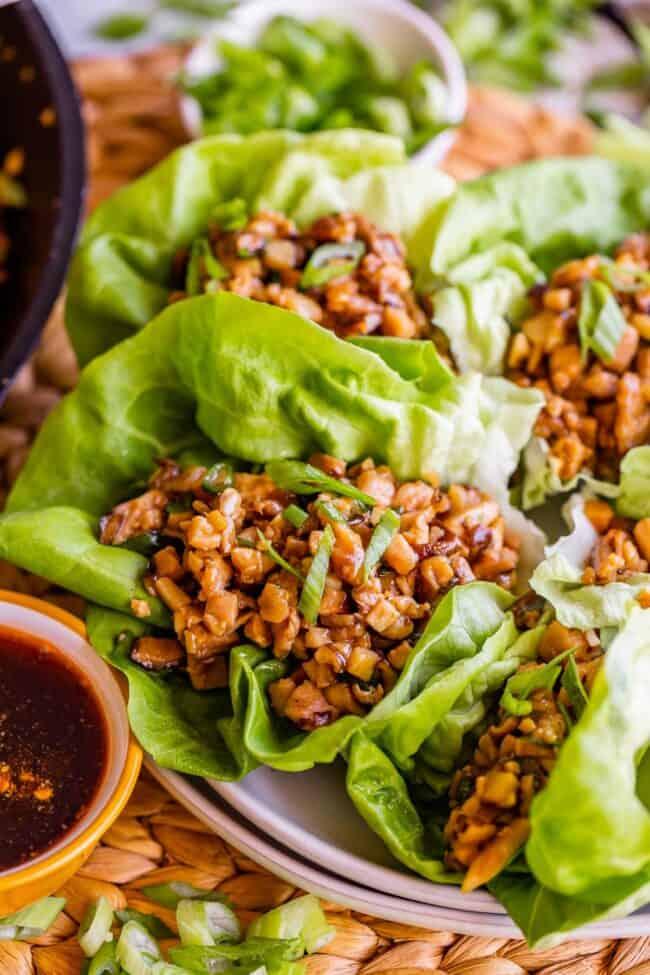 Chicken lettuce wraps on plate