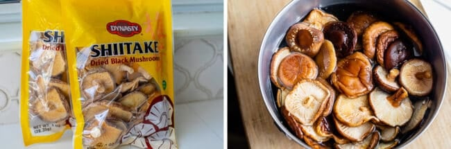 dried shiitake mushrooms in a bag, then in a metal bowl of hot water