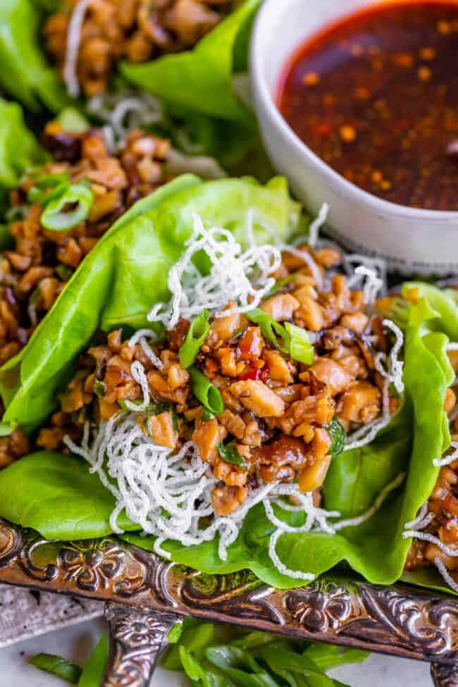 chicken lettuce wraps with fried rice noodles