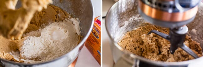 photo 1: dry ingredients on top of wet ingredients in a stand mixer, photo 2: stirring cookie dough in a stand mixer