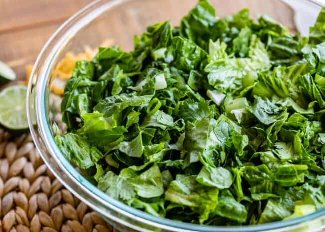 a glass bowl of green salad with cilantro and green onions