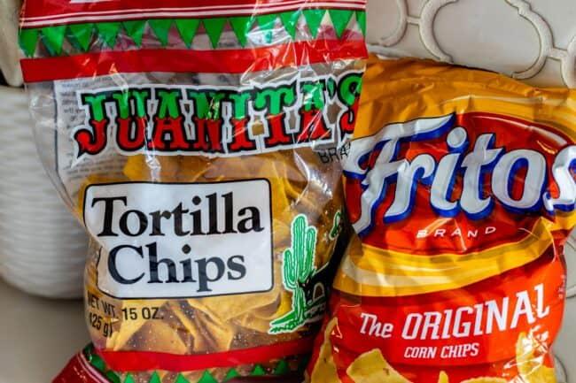 bag of Juanitas and bag of Fritos on white counter