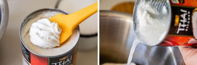 scooping out the cream from a can of coconut milk, pouring milk into a pot