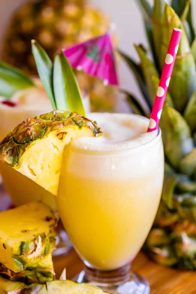 pina colada virgin with pineapple wedge and straw