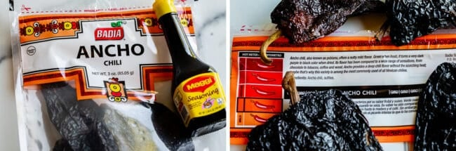 ancho chiles in a bag, maggi seasoning in a bottle