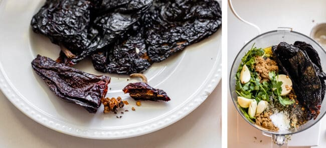 ancho chili with stem snipped off, overhead photo of marinade ingredients in a food processor
