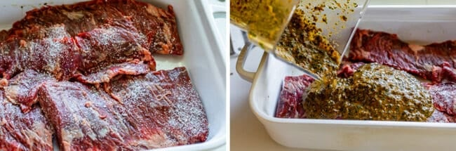 salted steaks in a pan, adding marinade from a blender into the pan