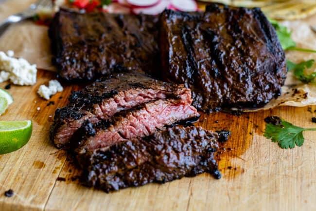 grilled skirt steak on a cutting board cut against the grain