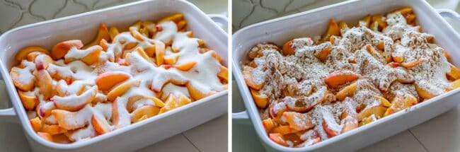 peaches in a casserole dish sprinkled with sugar; peaches sprinkled with flour and spices