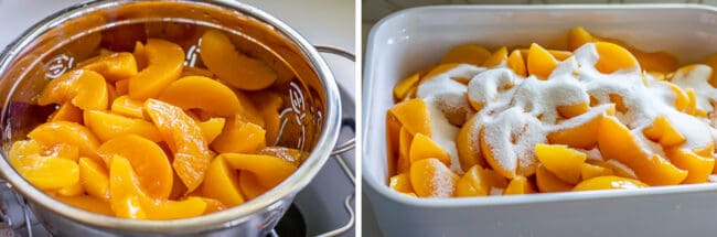 draining canned peaches in a colander; peaches in a casserole dish with sugar on top