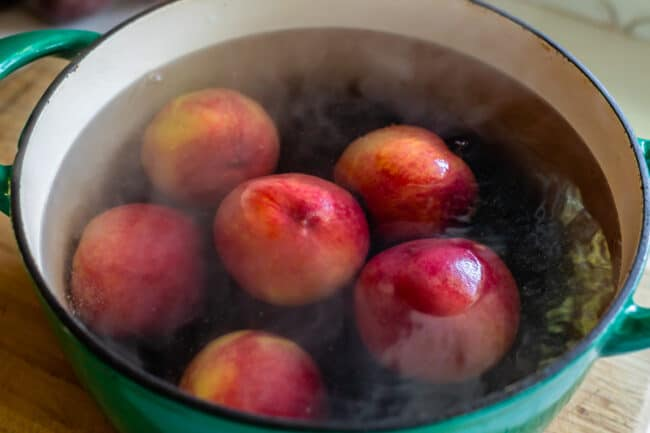 how to peel peaches by blanching in a pot of water