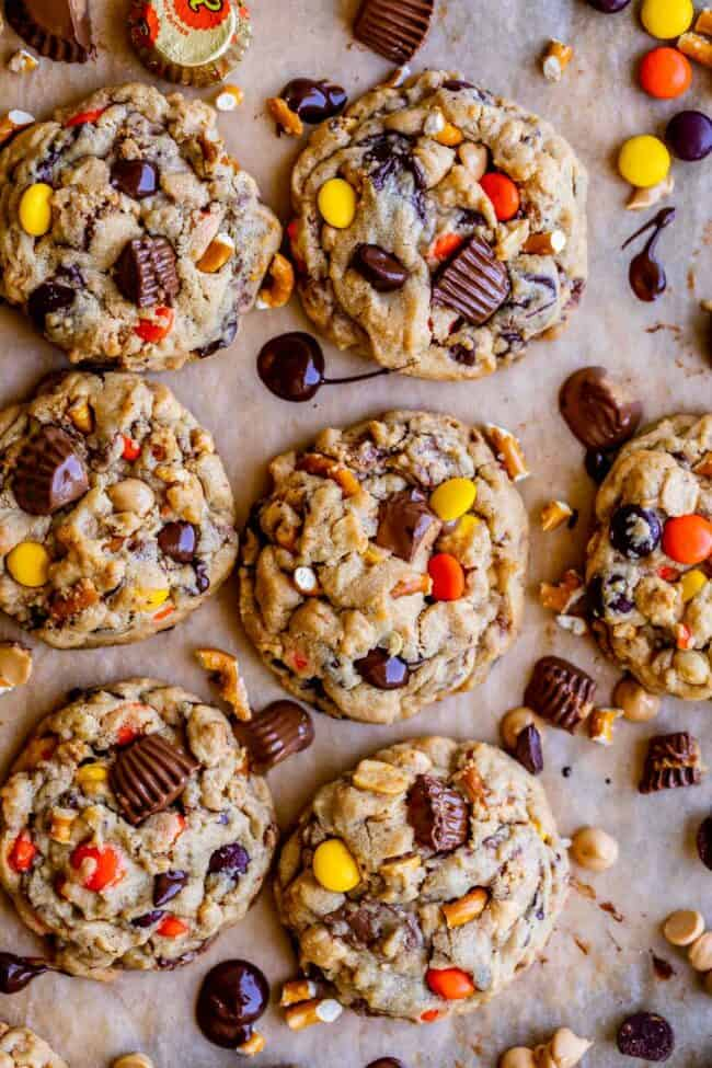 Reese's peanut butter cookies on a sheet pan from overhead