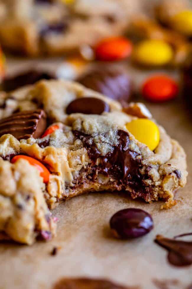 bite taken out of peanut butter pretzel cookies