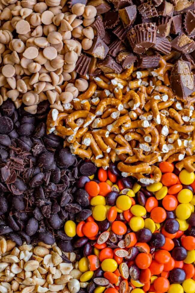 cookie ingredients gathered on a board: pb chips, chocolate chips, pretzels, reese's pieces, reese's cups