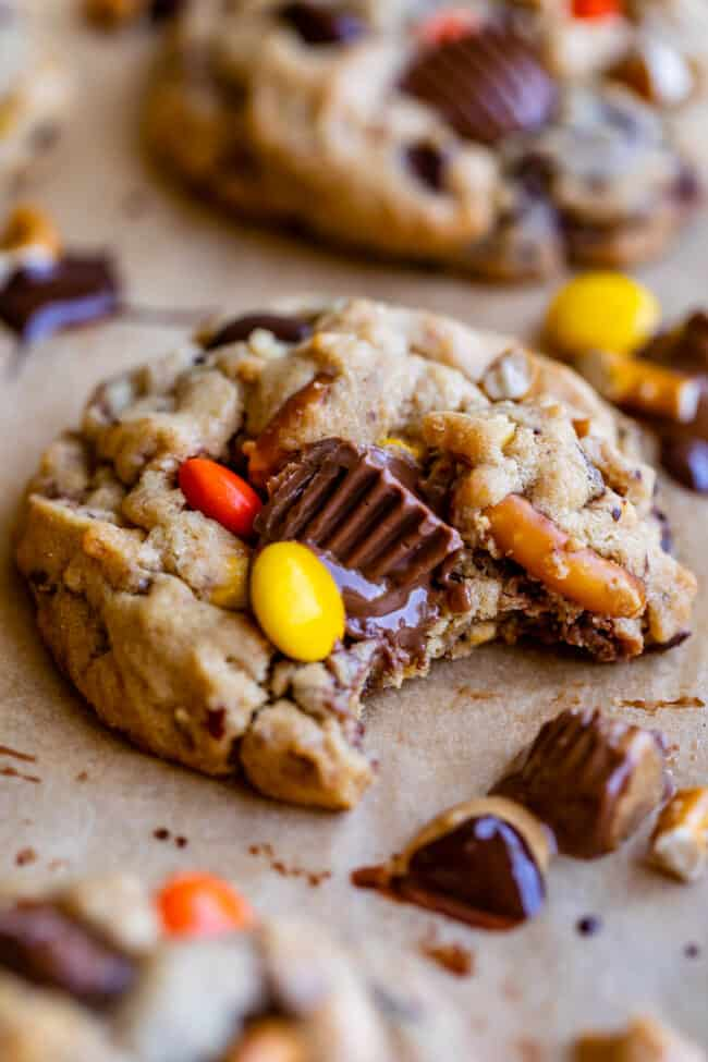reese's cookies with reeses pieces and pretzels