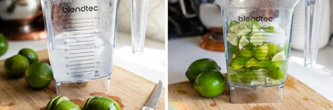 pitcher of ice water with limes, chopped limes in the water