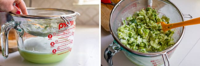 pressing blended limes into a glass measuring cup through a strainer