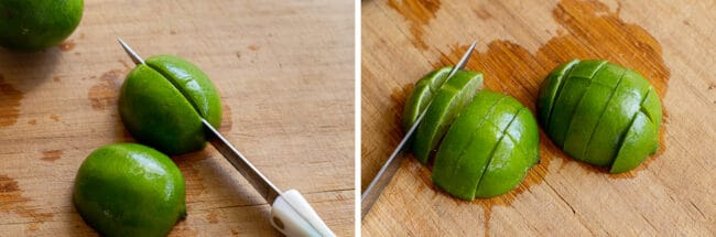 chopping limes into small chunks