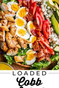 homemade cobb salad recipe on a wooden plate