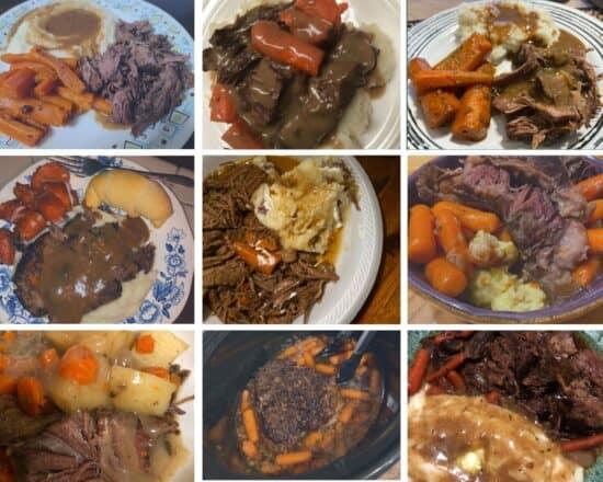 9 plates of crock pot pot roast with carrots and potatoes