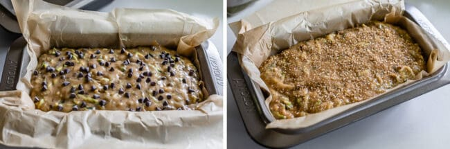 one pan of zucchini bread topped with chocolate chips; one pan topped with sugar