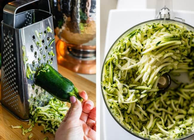 shredding zucchini with a box grater; shredding zucchini in a food processor