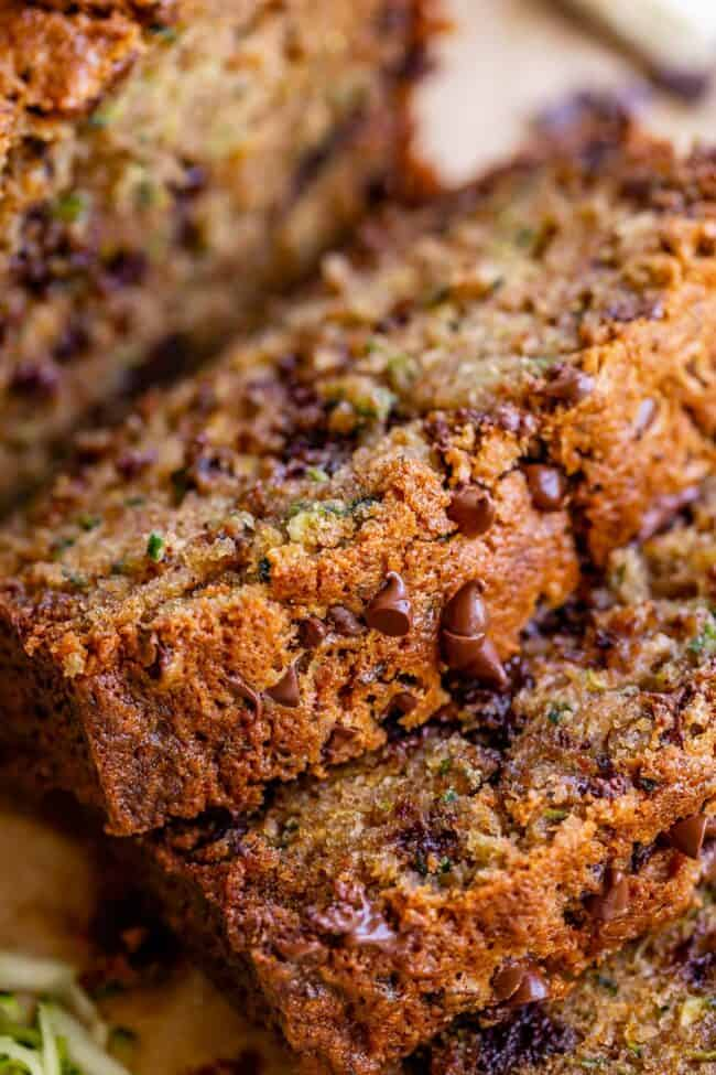 close up of zucchini bread with chocolate chips